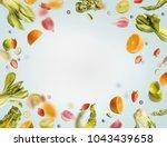 various flying or falling... | Shutterstock . vector #1043439658