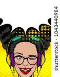 woman in sunglasses earphones... | Shutterstock .eps vector #1043440984