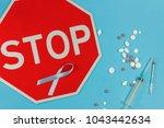 cyan   blue tape as symbol of... | Shutterstock . vector #1043442634