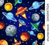 cartoon pattern with planetes... | Shutterstock .eps vector #1043447524