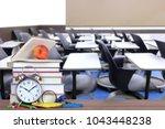 nobody in empty classroom for... | Shutterstock . vector #1043448238