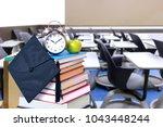 nobody in empty classroom for... | Shutterstock . vector #1043448244