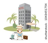 tourist in front of a hotel | Shutterstock .eps vector #1043451754