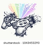 game controller and rainbow... | Shutterstock .eps vector #1043453293