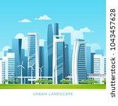 urban landscape with modern...   Shutterstock .eps vector #1043457628