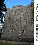 Exterior of Medieval 12th centrury Castle Keep outside south entrance to Maynooth University, in County Kildare, Ireland