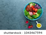 buddha bowl meal with kale ...   Shutterstock . vector #1043467594
