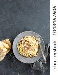 carbonara pasta  spaghetti with ... | Shutterstock . vector #1043467606