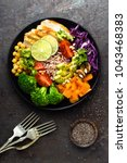 buddha bowl meal with chicken... | Shutterstock . vector #1043468383