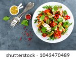 fresh vegetable salad plate of... | Shutterstock . vector #1043470489