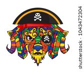 pirate ornament face of sheep ... | Shutterstock .eps vector #1043472304