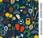 sport sketch seamless pattern.... | Shutterstock .eps vector #1043473960