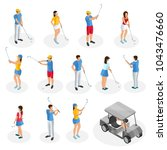 isometric golf players... | Shutterstock .eps vector #1043476660