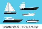 set of ships at the sea  modern ... | Shutterstock .eps vector #1043476759