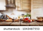 baking ingredients placed on... | Shutterstock . vector #1043487553