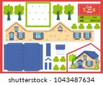 cut and glue the paper house.... | Shutterstock .eps vector #1043487634