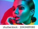 high fashion model woman in... | Shutterstock . vector #1043489080