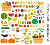 vegetables and fruits flat icon ... | Shutterstock .eps vector #1043492719
