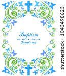 baptism card design with cross. ... | Shutterstock .eps vector #1043498623
