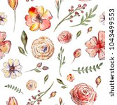 watercolor painted pattern with ... | Shutterstock . vector #1043499553