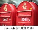 Two Red Post Boxes In...