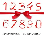 set of red ribbon numbers with... | Shutterstock .eps vector #1043499850