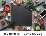 top view on traditional... | Shutterstock . vector #1043501218