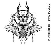 stag beetle tattoo. psychedelic ... | Shutterstock .eps vector #1043501683