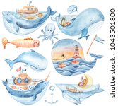 Watercolor Cartoon Whales  Fis...