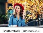 beautiful happy smiling girl... | Shutterstock . vector #1043502613