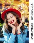 beautiful happy smiling girl... | Shutterstock . vector #1043502616