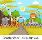 zoo park with wild animals.... | Shutterstock .eps vector #1043504968