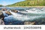 river rapids in the polar urals ...   Shutterstock . vector #1043508898