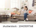 desperate helpless woman... | Shutterstock . vector #1043509768