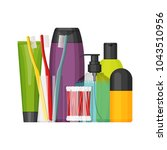 colorful vector cosmetic... | Shutterstock .eps vector #1043510956