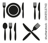 plate  fork  spoon and knife... | Shutterstock .eps vector #1043513743