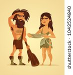 happy neanderthals man and... | Shutterstock .eps vector #1043524840