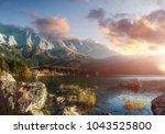 beautiful landscape of alpine... | Shutterstock . vector #1043525800
