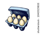 egg carton hand drawn isolated... | Shutterstock .eps vector #1043525833