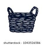 wicker basket hand drawn...   Shutterstock .eps vector #1043526586