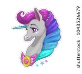 beautiful unicorn face patch.... | Shutterstock .eps vector #1043526679