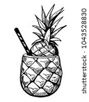 tropical cocktail in pineapple. ... | Shutterstock .eps vector #1043528830