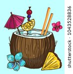 coconut tropical cocktail. hand ... | Shutterstock .eps vector #1043528836