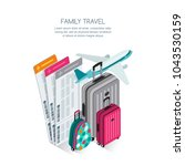 family travel by aircraft and...   Shutterstock .eps vector #1043530159