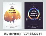 deep house party a4 invitation... | Shutterstock .eps vector #1043533369
