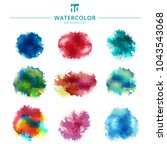 set of multicolored watercolor... | Shutterstock .eps vector #1043543068