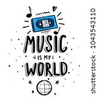 t shirt design with music... | Shutterstock .eps vector #1043543110