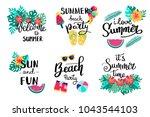 summer lettering. set hand... | Shutterstock .eps vector #1043544103