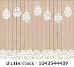 paper cut easter eggs hanging...   Shutterstock .eps vector #1043544439