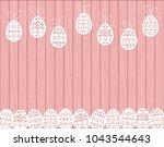 paper cut easter eggs hanging...   Shutterstock .eps vector #1043544643